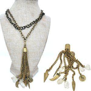 Love Poppy Multi Crystal Charm Tassel Necklace